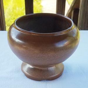 Vintage Brown Frankoma Footed Round Vase